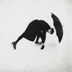 Tom Palumbo, Anne St. Marie Skating with Umbrella: Taken as a test for The Design Laboratory at the New School, taught by Alexey Brodovitch, circa 1956