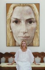 """Slim Aarons, Mercedes Herrera de Benacerraf, 1987: At her villa """"Quinta Mercedes"""", Formentor, Spain"""