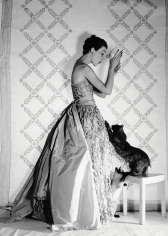 Louise Dahl-Wolfe, Mary Jane Russell in a Balenciaga Gown with Cat, Paris, 1951