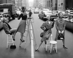 William Helburn, Stopping Traffic, Joanna McCormick, Janet Randy, Betsy Pickering and Gretchen Harris, Park Avenue South, Charm, ca. 1958