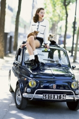 Arthur Elgort,	Kate Moss on Fiat in Paris, Italian Vogue, 1994