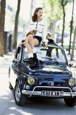 Arthur Elgort,Kate Moss on Fiat in Paris, Italian Vogue, 1994