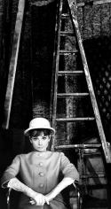 Bob Willoughby, Audrey Hepburn on set of Paris When It Sizzles at Boulogne Studios in Paris, 1962