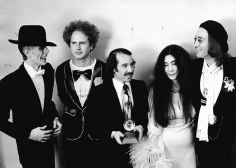 Ron Galella David Bowie, Art Garfunkle, Paul Simon, Yoko Ono and John Lennon at the Grammy Awards, New York, March 1, 1975