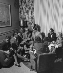 Slim Aarons, In the Lobby of the Lord Tarleton Hotel, Miami Beach, Florida, circa 1945: (from left to right) Mrs. Price, Georgie Price, Grace Green, Phil Silvers, Walter Jacobs, Eddie Cantor, Abel Green, and Ida Cantor