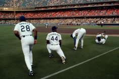 Steve McCurry,  Kal Daniels, Darryl Strawberry, and Gary Carter, Dodgers Stadium, Los Angeles, 1991