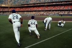 Steve McCurry,  Kal Daniels, Darryl Strawberry, and Gary Carter, Dodgers Stadium, Los Angeles, 1991