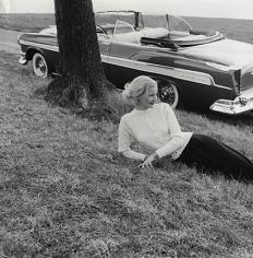 Tom Palumbo, Sunny Harnett, Chrysler New Yorker, Harper's Bazaar, July 1955