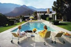 Slim Aarons, Poolside Glamour, 1970: Lita Baron, Nelda Linsk, and Helen Dzo Dzo at the Richard Neutra-Designed house of Edgar Kaufman, Palm Springs