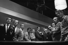 "Sid Avery, Cast of ""Ocean's 11"", 1960 (from left to right - Nick Conti, Jerry Lester, Joey Bishop, Sammy Davis, Jr., Frank Sinatra, Dean Martin, Peter Lawford, Akim Tameroff, Richard Benedict, Henry Silva, Norman Fell, and Clem Harvey)"