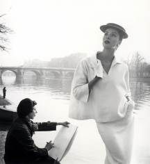 Louise Dahl-Wolfe  Suzy Parker in Balenciaga along the Seine, Paris, 1953