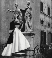 Genevieve Naylor, Dorian Leigh in formal evening wear by Veneziani, Harper's Bazaar, Rome, 1952
