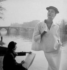 Louise Dahl-Wolfe, Suzy Parker in Balenciaga Along Seine, 1953