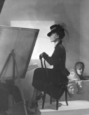 Horst, Fashion with Easel: Estrella Boisseau wearing a Reboux hat and Cartier jewelry, New York, 1938