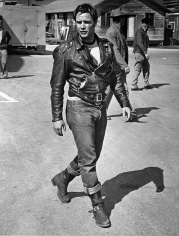 "Phil Stern, Marlon Brando during the filming of ""The Wild One"", 1954"