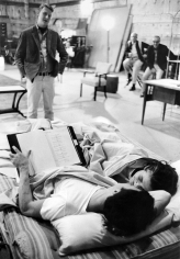 """Bob Willoughby, Mike Nichols, Dustin Hoffman, and Anne Bancroft on the set of """"The Graduate"""", 1967"""