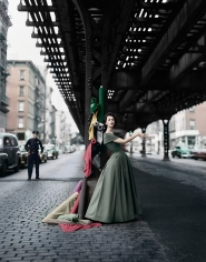 William Helburn, Dovima under the El, Dior, 1956