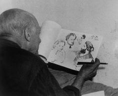 "Alexander Lieberman, Pablo Picasso sketching the characters in Manet's ""Dejeuner sur l'Herbe"", Vallauris, 1949-1954"
