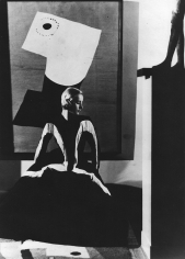 George Hoyningen-Huene, Art in Fashion: Model in Balenciaga in front of painting by Miro, photographed in Helena Rubenstein's Paris Home, 1939