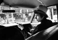 Daniel Kramer, Bob Dylan with Top Hat Pointing in Car, Philadelphia, 1964