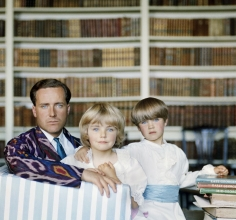 Slim Aarons, The Honorable Desmond Guinness with his children Marina and Patrick, Leixlip Castle, Ireland, 1963