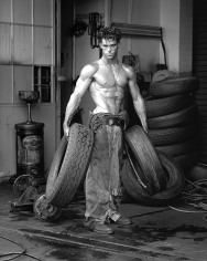 Herb Ritts, Fred with Tires, Hollywood, 1984