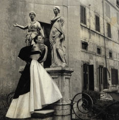 Genevieve Naylor, Dorian Leigh in formal evening wear by Veneziani, Harper's Bazaar, Rome, 1952