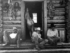 Kurt Markus, Olga, Mike Bruman, Tom Sanders and Joker Lebrun, Little Bear Ranch, McLeod, Montana, 1994