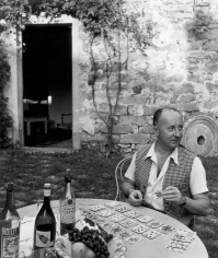 Louise Dahl-Wolfe, Christian Dior at his millhouse Le Moulin du Coudret, Milly-la-Forêt, France, 1946