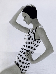 """Tom Palumbo, Model in Checked Swimsuit, """"Fashion of the Times,"""" New York Times, Virgin Islands, May 5, 1957 (Orlon and Lastex checked swimsuit)"""