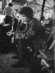 Daniel Kramer, Bob Dylan in Raincoat, Sitting Backstage, Forest Hills Stadium, New York, 1965