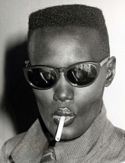 """Ron Galella, Grace Jones at Bond's for the """"Warm Leatherette"""" premiere party, New York, 1980"""
