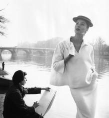 Louise Dahl-Wolfe, Suzy Parker in Balenciaga along the Seine, Paris, France, 1953