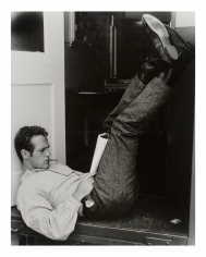 "John Hamilton, Paul Newman  outside of his dressing room on the set of  ""The Left-Handed Gun"", 1958"