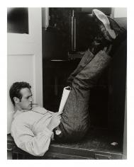 "John Hamilton, Paul Newman  outside of his dressing room on the set of  ""The Left-Handed Gun"", 1958"