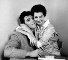 Bob Willoughby, Sophia Loren and Elvis Presley, Paramount Studios, 1958