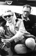 Paul Schutzer , Marilyn Monroe and Arthur Miller in the Backseat of a Convertible, 1956