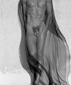 Herb Ritts, Male Torso With Veil, Full Length, Silverlake 1985