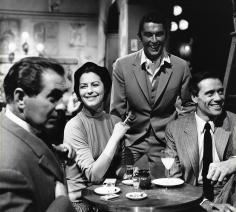 Genevieve Naylor, Tyrone Power, Ava Gardner, Robert Evans, and Mel Ferrer on the set of The Sun Also Rises, 1957