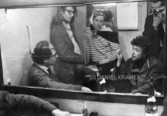 Daniel Kramer, Bob Dylan, Allen Ginsberg, Peter Orlovsky, Barbara Rubin and Daniel Kramer in the Dressing Room, Princeton, New Jersey, 1964