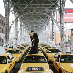 Rodney Smith, Edythe and Andrew Kissing on Top of Taxis, New York City, NY, 2008