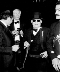 Ron Galella, Lester Persky, Andy Warhol and Truman Capote at Steve Rubell's birthday party, Studio 54, New York, 1978