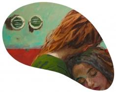 Xenia Hausner, Sleepwalking, 2019, oil on Dibond, 27 1/2 x 48 1/2 inches