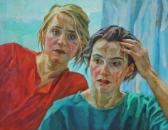 Xenia Hausner, Emergency, 2017, oil on Dibond, 41 x 52 3/4 inches