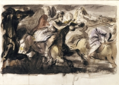 Reginald Marsh, Riders on the Carousel, 1938-42, watercolor and ink on paper, 8 x 13 inches