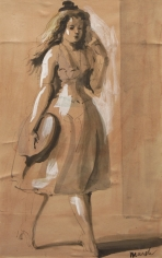 Reginald Marsh, Walking Woman, nd, ink and gouache on paper, 7 3/4 x 4 5/8 inches