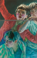 Xenia Hausner, Women in Trouble, 2018, oil on Dibond, 63 x 40 1/2 inches