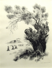 Louis Lozowick, Old Willow, 1931, Litho, 12 5/8 x 9 3/4 inches (image size), 23 5/8 x 20 5/8 (frame size), Edition of 15