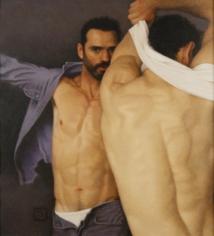 Michael Leonard, Changing Room II, 2006, alkyd-oil on masonite, 22 1/2 x 20 1/2 inches