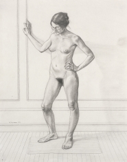 "William Beckman, Study for ""Diana #1"", facing left, 1972, pencil on paper, 22 3/4 x 18 inches"